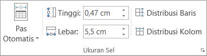 Memperlihatkan opsi dalam grup Ukuran Sel.