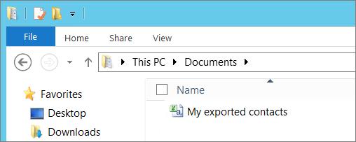 Mengetikkan nama untuk file yang Anda ekspor