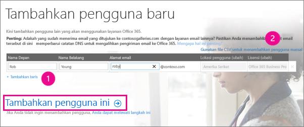 Menambahkan pengguna ke penyewa Office 365 Anda