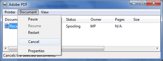 Pada menu Dokumen, klik Batal.