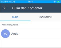 Cuplikan layar suka dan komentar halaman di Kaizala