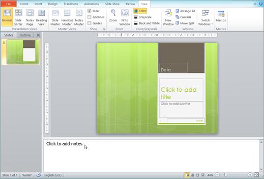 Memperlihatkan panel catatan di bawah jendela slide