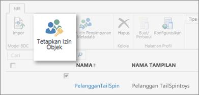 Cuplikan layar pusat Admin SharePoint Online di bawah BCS. Memperlihatkan tombol Atur izin objek di pita.