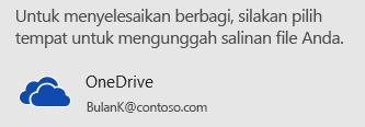 Jika belum menyimpan presentasi ke OneDrive atau SharePoint, PowerPoint akan meminta Anda untuk melakukannya.