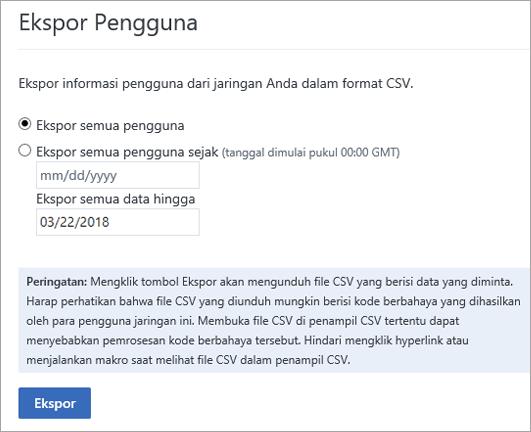 Opsi ekspor pengguna yammer - mengekspor semua pengguna atau ekspor semua pengguna sejak (tanggal)