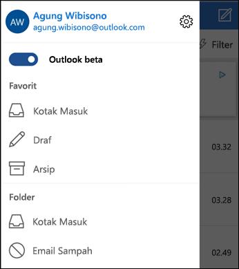 Akses pengaturan dan daftar folder
