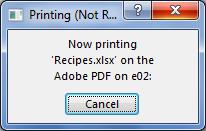 Kotak dialog Pencetakan muncul ketika Anda mengirim dokumen ke printer.