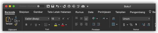 gambar pita Excel dalam mode gelap