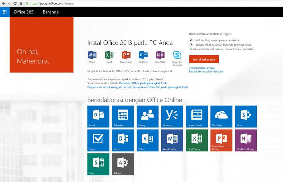Cuplikan layar tentang cara menginstal Office 365 di PC.