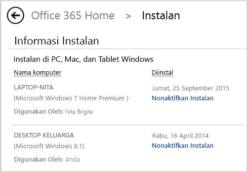 Cuplikan layar halaman instalasi memperlihatkan nama komputer dan nama orang yang menginstal Office.
