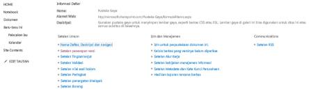Halaman pengaturan pustaka dengan link Pengaturan Pembuatan Versi ditampilkan