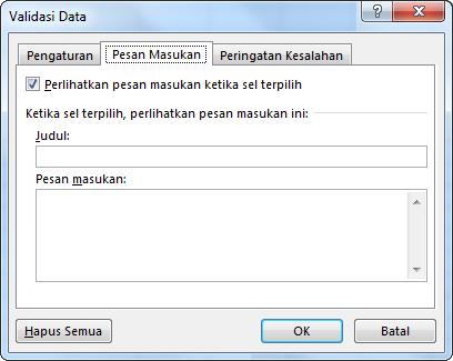 Pilih pesan yang Anda ingin agar dilihat orang saat mereka mulai menggunakan daftar turun bawah di Excel