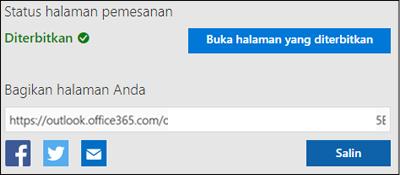 Cuplikan layar: Salin URL dari halaman terakhir Anda
