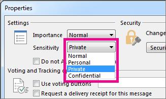 Di samping Sensitivitas, klik Privat.