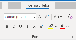 Grup font format teks Outlook untuk Windows