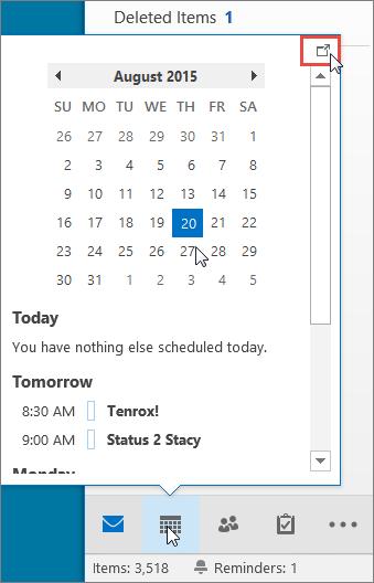 Cuplikan kalender dengan ikon Penambatan dimunculkan