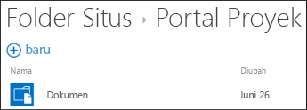 Pilih situs dalam daftar Folder Situs di Office 365 untuk melihat pustaka dokumen di situs itu.