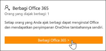 Bagian Berbagi Office 365 dari halaman Akun Saya sebelum langganan dibagikan dengan orang lain.