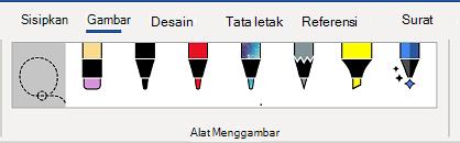 Tab alat Menggambar dari pita Word.