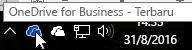 Cuplikan layar memperlihatkan kursor yang diarahkan ke ikon OneDrive biru, dengan teks OneDrive for Business.