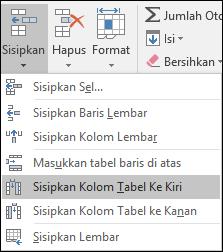 Untuk menambahkan kolom tabel dari tab Beranda, klik panah untuk sisipkan > sisipkan kolom tabel ke sebelah kiri.