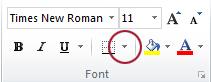 Tombol Batas dalam grup Font