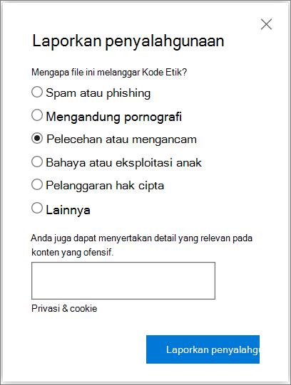 Cuplikan layar dialog penyalahgunaan laporan kotak di OneDrive