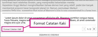 Tombol Format Catatan kaki di area pengeditan Catatan Kaki Word Online
