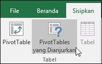 Masuk ke Sisipkan > PivotTable yang Direkomendasikan untuk meminta Excel membuatkan PivotTable untuk Anda
