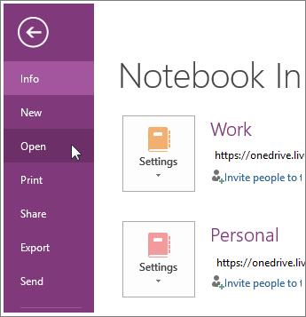 Membuka buku catatan dari menu File