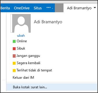 Menu membuka kotak surat lain Outlook Web App
