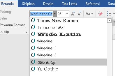 Font baru Anda sekarang muncul dalam daftar font di Word.