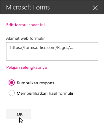 Setelah formulir baru dibuat, panel komponen web Microsoft Forms akan menampilkan alamat web formulir.