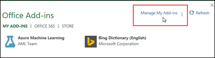Dialog add-in Office mendaftar add-in yang telah terinstal. Klik Kelola Add-in Saya untuk mengelola add-in.