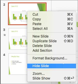 Cuplikan layar memperlihatkan slide yang dipilih dan menu klik kanan dengan opsi Sembunyikan Slide yang dipilih.