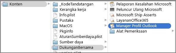 Perlihatkan konten paket untuk Outlook