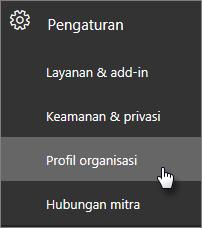 Di pusat admin, navigasikan ke Pengaturan, lalu Profil organisasi.