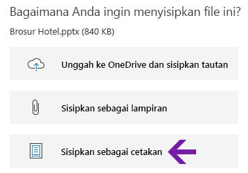 Opsi cetakan file di OneNote untuk Windows 10