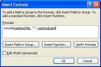 Rumus yang telah selesai dalam kotak dialog Sisipkan Rumus yang menyusun nama formulir