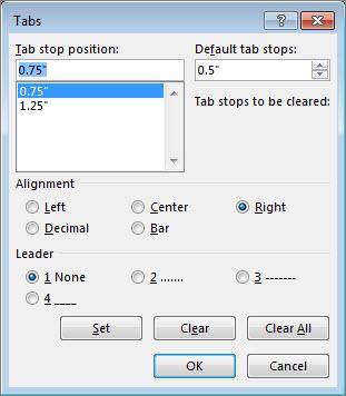 Kotak dialog Tab