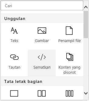 Cuplikan layar menu Konten sematan di SharePoint.