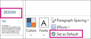 Menyimpan sebagai Opsi Default untuk Word tema ditemukan pada tab desain