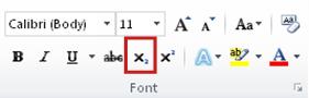 perintah subskrip dalam grup font