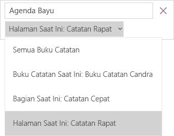 Memperlihatkan menu menurun pencarian dengan opsi cakupan, halaman saat ini sedang aktif.
