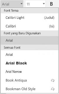 Daftar font