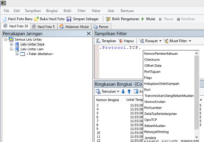 Cuplikan layar Netmon memperlihatkan bahwa bidang Filter Tampilan menggunakan intellisense.