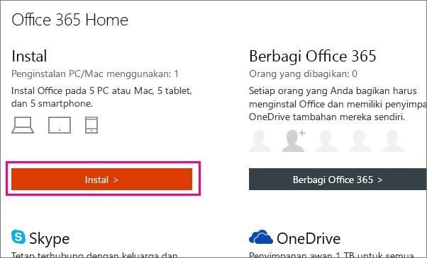 Menampilkan tombol instal Office 365 Home halaman akun saya