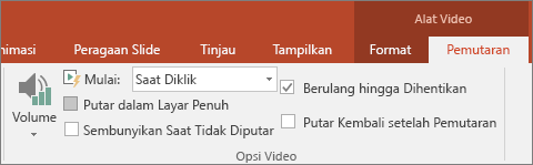 Memperlihatkan opsi Ulangi hingga Dihentikan di Alat Video PowerPoint
