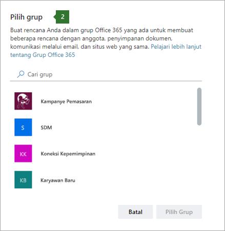 Cuplikan layar Pilih kotak dialog Grup