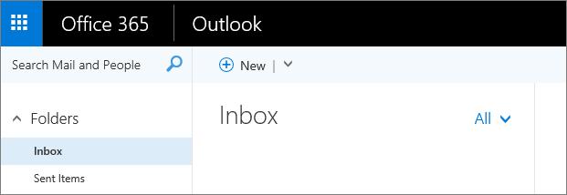 Gambar tampilan pita dalam Outlook di web.